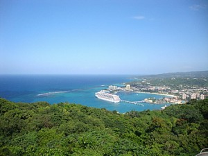 Ocho Rios cruise port from the chair lift at Mystic Mountain