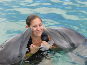 Getting some kisses at Dolphin Cove!